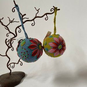 Pair of Handcrafted Yarn Balls From Peru